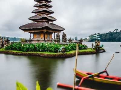 Lake in Bali with temple